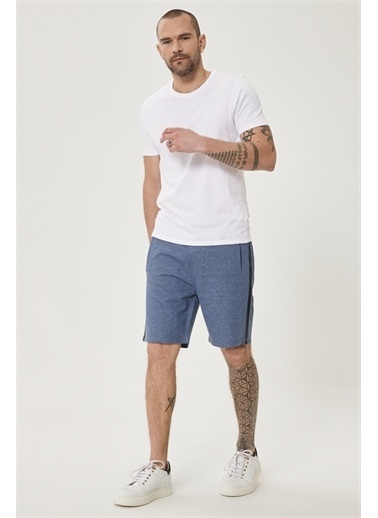 AC&Co / Altınyıldız Classics Slim Fit Günlük Rahat Spor Örme Şort 4A9521200006 Mavi